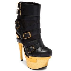 Versace triple platform black and gold booties